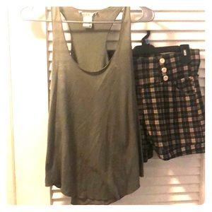 Khaki dress shorts with razor back tank top